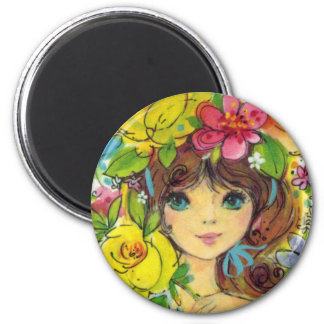 Sweet Girl in a Bouquet of Flowers Magnet