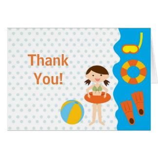 Sweet Girl Pool Party Thank You Note Card