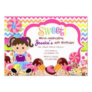 Sweet Girl Rainbow Candy Birthday Invitation