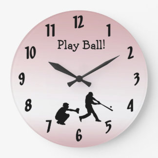 Sweet Girly Pink Play Ball Baseball Sports Clock