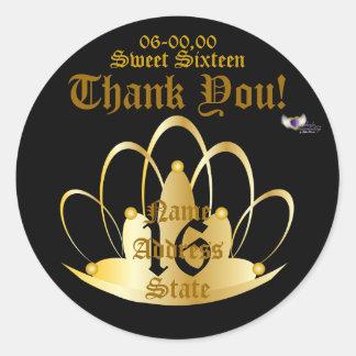 Sweet Golden Tiara Sticker-Customize Classic Round Sticker