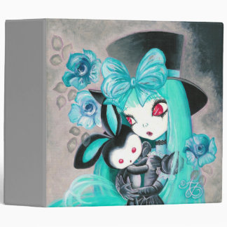 Sweet Gothic Girl With Bunny 3 Ring Binder