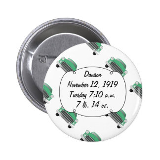 Sweet Green Classic Car Baby Boy Stats 2 Inch Round Button