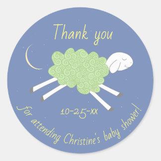 Sweet Green Lullaby Baby Shower Favor Sticker