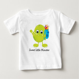 Sweet Green Monster Going to School Baby T-Shirt