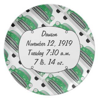 Sweet Green Retro Car Baby Shower Gifts Plate