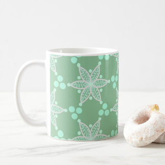 Sweet green retro flowers and spots coffee mug