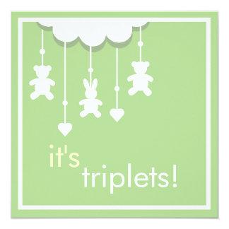 Sweet Green Triplets Baby Shower Invitation