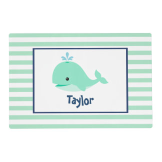 Sweet Green Whale Kids Laminated Place Mat