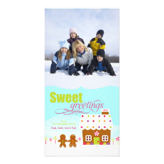 Sweet greeting gingerbread house holiday photocard card
