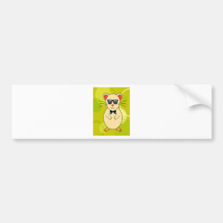 Sweet Hamster with Sunglasses and Ribbon Bow Bumper Sticker