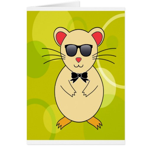 Sweet Hamster with Sunglasses and Ribbon Bow Cards