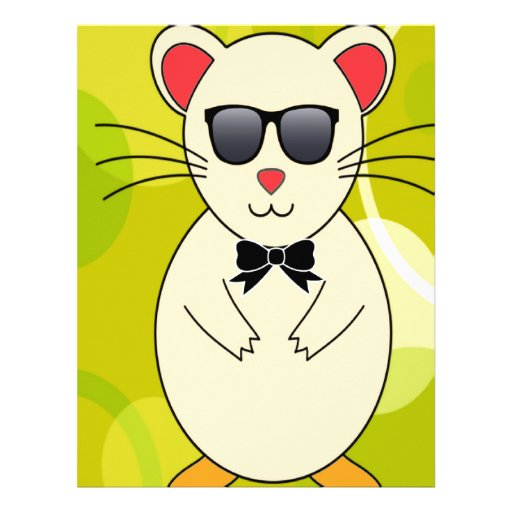 Sweet Hamster with Sunglasses and Ribbon Bow Personalized Letterhead