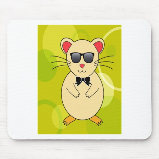 Sweet Hamster with Sunglasses and Ribbon Bow Mousepads