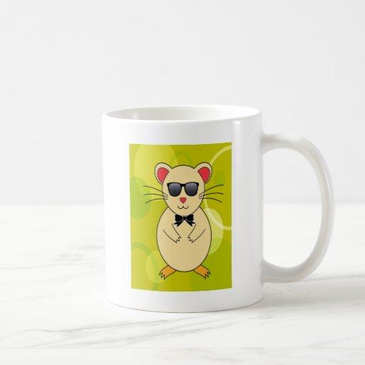Sweet Hamster with Sunglasses and Ribbon Bow Mug