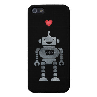 Sweet, Happy Robot with Little Red Heart iPhone 5/5S Case