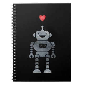 Sweet, Happy Robot with Little Red Heart Notebook