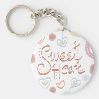 Sweet Heart. Pastel colourful text and print. Keychain