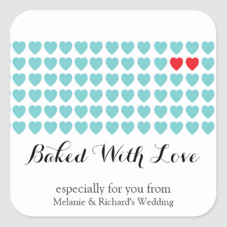 Sweet Heart Wedding Party Favor Label AQUA RED Square Sticker