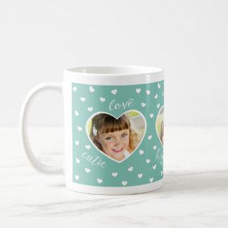 Sweet Hearts 3 Photo Custom Mug / Mint