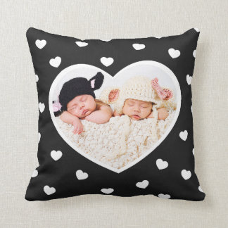 Sweet Hearts Custom Photo Pillow / Charcoal