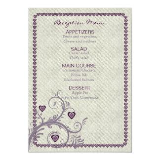 Sweet Hearts Eggplant Reception Menu ID169 Card