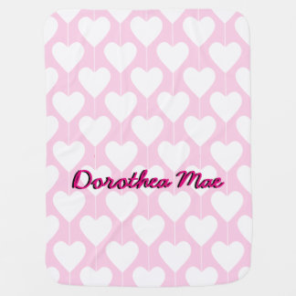 Sweet Hearts Girly Pink Personalized Baby Blanket