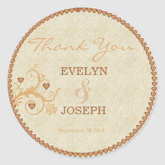 Sweet Hearts Gold Wedding Thank You ID169 Classic Round Sticker