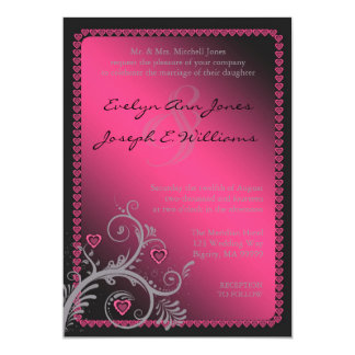 Sweet Hearts Pink Wedding Invitation ID169