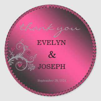 Sweet Hearts Pink Wedding Thank You ID169 Classic Round Sticker