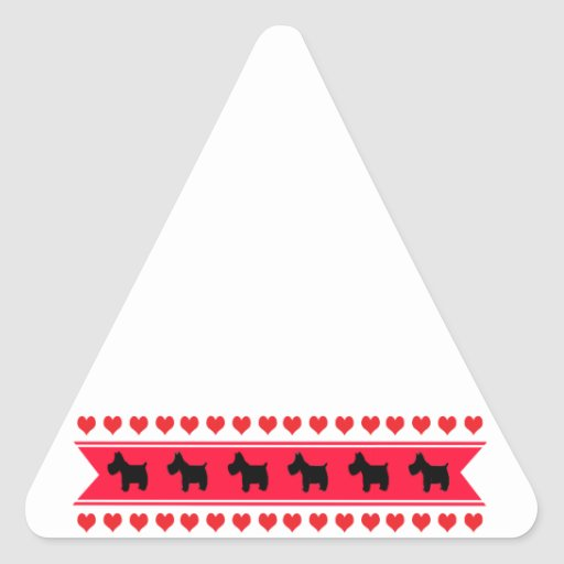 Sweet Hearts (Scotties) Triangle Sticker