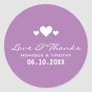 Sweet Hearts Soft Purple Wedding Thank You Classic Round Sticker