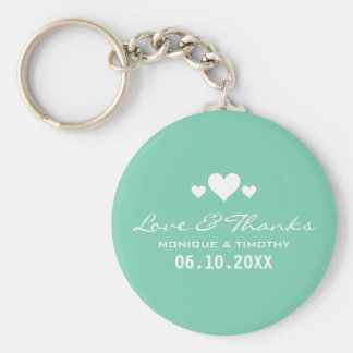 Sweet Hearts Soft Teal Wedding Thank You Keychain