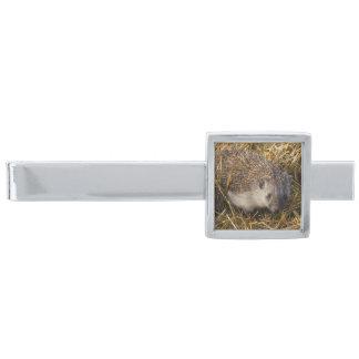 Sweet Hedgehog In Stubble Field Silver Finish Tie Bar