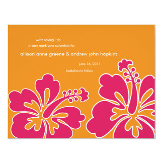 Sweet Hibiscus Save the Date Invitation Card