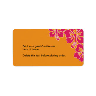 Sweet Hibiscus Wedding Custom Address Label