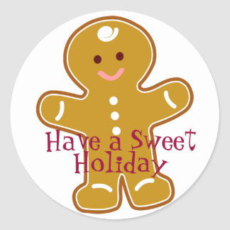 Sweet Holiday Gingerbread Man Label Round Sticker