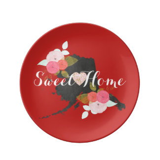 Sweet Home Alaska State Watercolor Floral & Heart Porcelain Plate