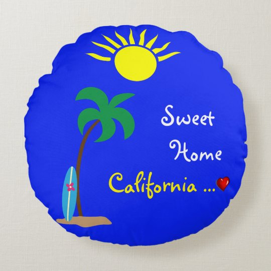 sweet home california round pillow