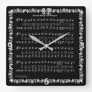 SWEET HOUR OF PRAYER* SQUARE WALL CLOCK