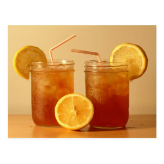 Sweet Iced Tea in Mason Jars with Straws Postcard