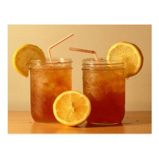 Sweet Iced Tea in Mason Jars with Straws Postcard