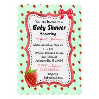 Sweet Its a Girl Strawberry Baby Shower Invites