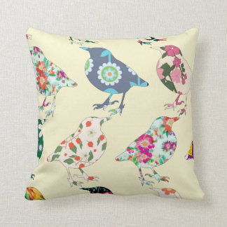 Sweet Ivory Floral Bird Patchwork Quilt Pillow