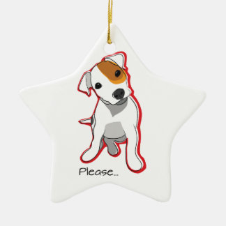 "Sweet Jack Russell Puppy ""Please"" Ornament"