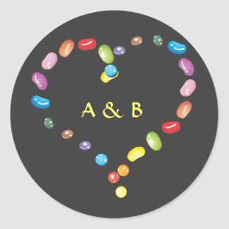 Sweet jelly beans candy heart shape. Add initials Classic Round Sticker