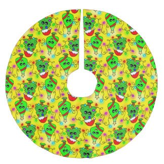 Sweet Kawaii Christmas tree  pattern Brushed Polyester Tree Skirt