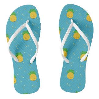 Sweet kawaii pineapple blue white flip-flops flip flops