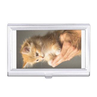 Sweet Kitten in Good Hand Business Card Holder