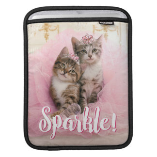 Sweet Kittens in Tiaras and Pink Sparkly Tutu Sleeve For iPads